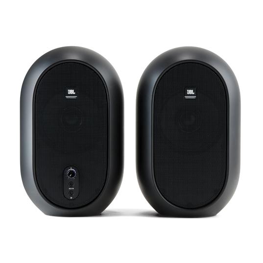 JBL 104 (Pair) - Black - Compact Powered Desktop Reference Monitors - Front