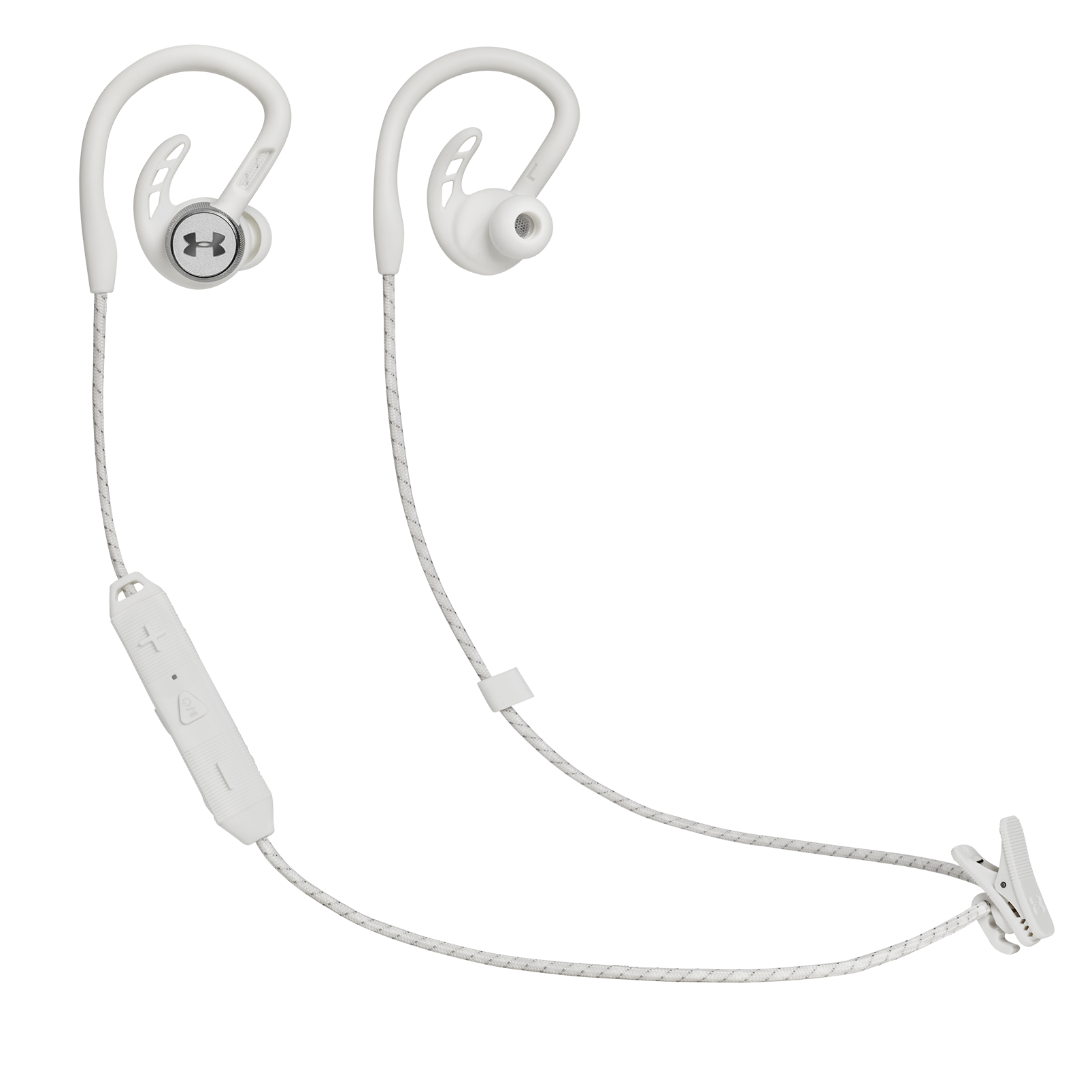 UA Sport Wireless PIVOT - White - Secure-fitting wireless sport earphones with JBL technology and sound - Hero
